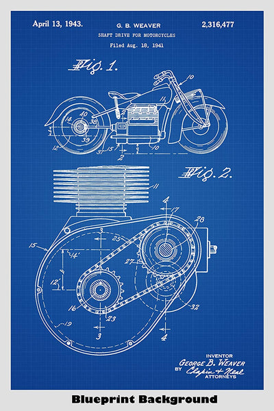 Classic Indian Motorcycle Patent Print Art Poster