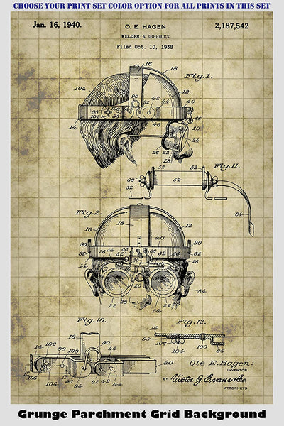 Steampunk Goggles, Gas Mask, Safety & Telescope Glasses Patent Print Art Posters Wall Decor Collection