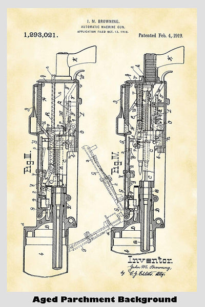 Browning Machine Gun Patent Print Art Poster