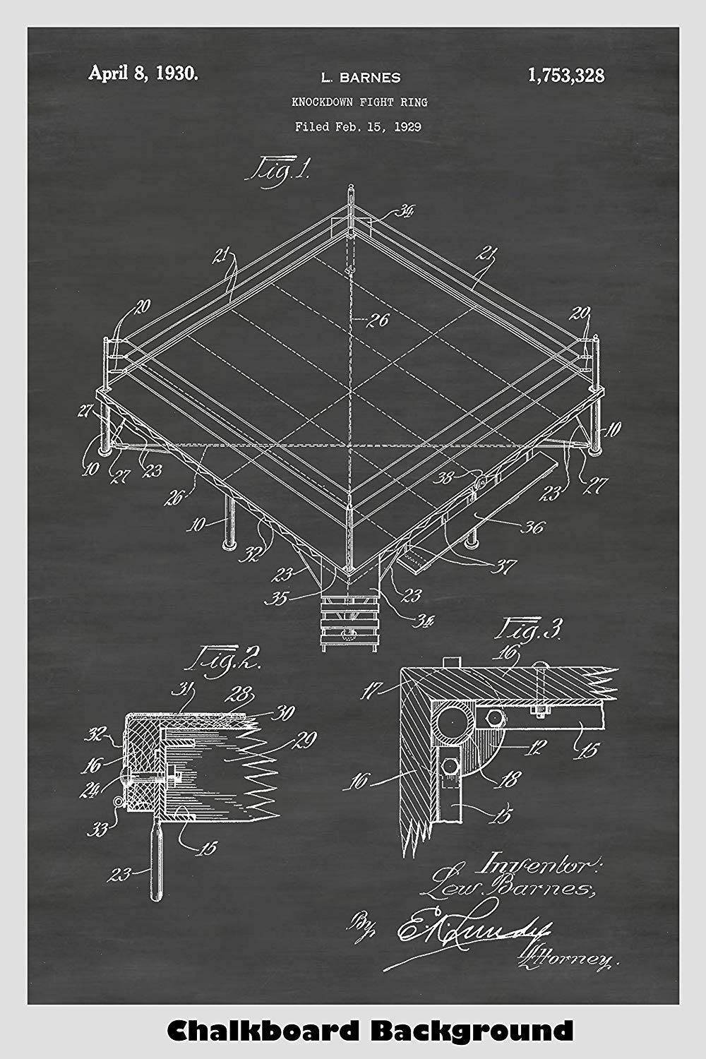 Knockdown Fight Ring (Boxing Ring) Patent Poster