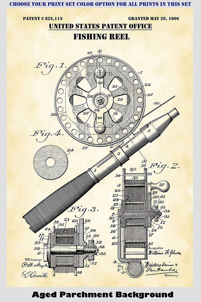 Vintage Fishing Reels & Lures Patent Print Art Posters Wall Decor Collection