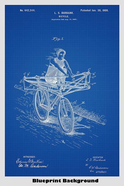 Antique Rowing Machine Powered Bicycle Patent Print Art Poster