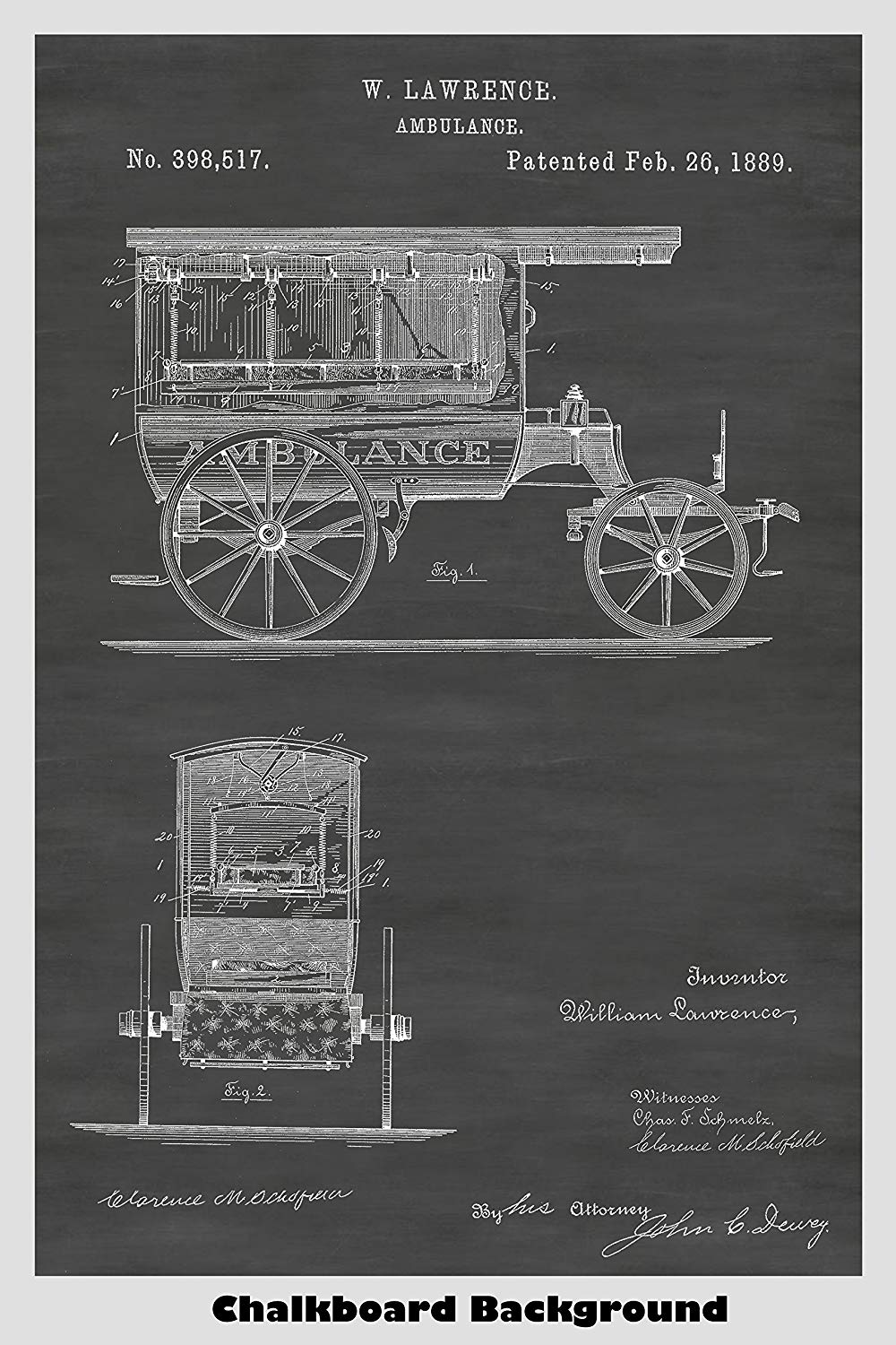 Late 1800's Ambulance Poster on Our Chalkboard Background - One of Eight Background Choices