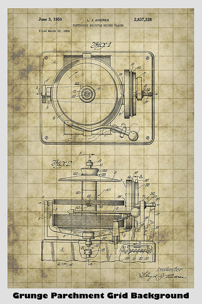Vintage Record Player Patent Print Art Poster