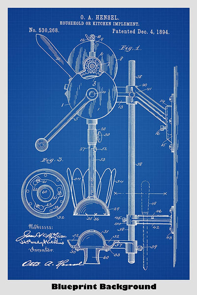 Combination Hand Mixer And Juicer Patent Print Art Poster