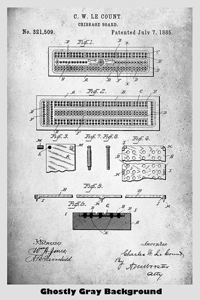 Cribbage Board Patent Print Art Poster