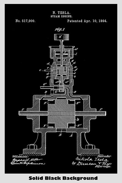 Nikola Tesla Steam Engine Patent Print Art Poster