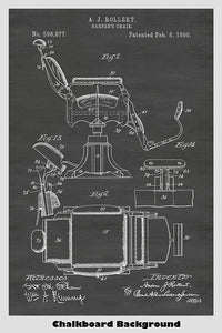 Barber's Chair patent art with a chalkboard background
