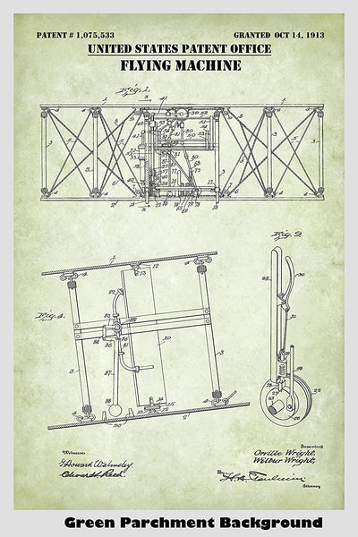 Wright Brothers Flying Machine Airplane Patent Print Art Poster