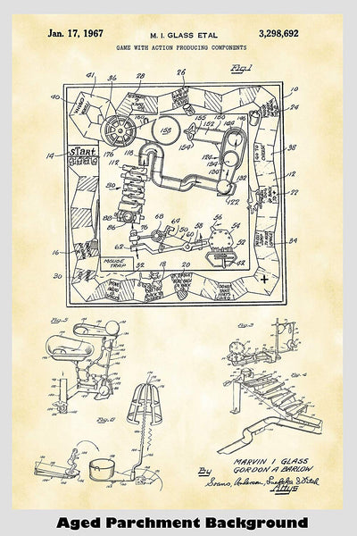 Mousetrap Board Game Patent Print Art Poster