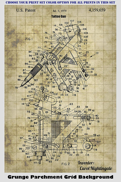 Modern Tattoo Machines, Guns and Markers Patent Print Art Posters Wall Decor Collection