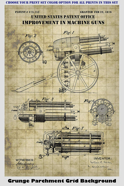 Antique Machine Gun & Gatling Gun Patent Print Art Posters Wall Decor Collection