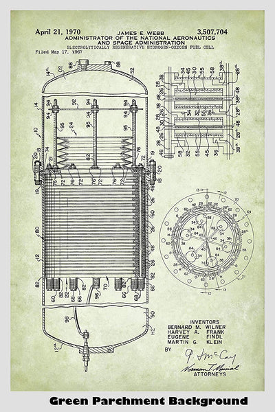 Hydrogen Fuel Cell Patent Print Art Poster