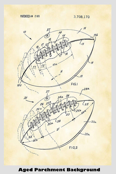 Football Game Ball Patent Print Art Poster