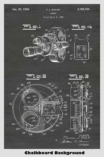 Motion Picutre Movie Camera Patent Print Art Poster