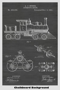 Locomotive Engine Patent Print Art Poster