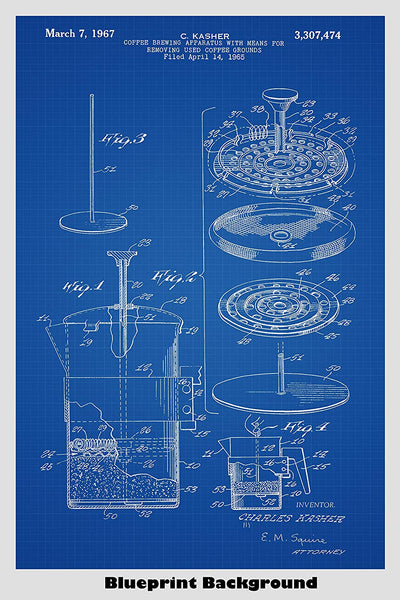 French Press Coffee Maker Patent Print Art Poster
