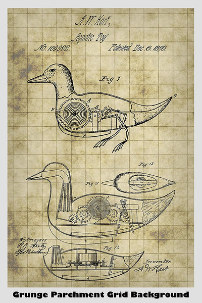 Victorian Era Mechanical Toy Duck Patent Print Art Poster