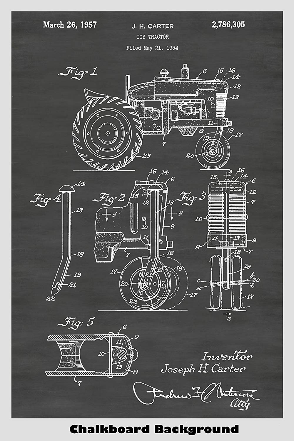 Toy Farm Tractor Patent Print Art Poster