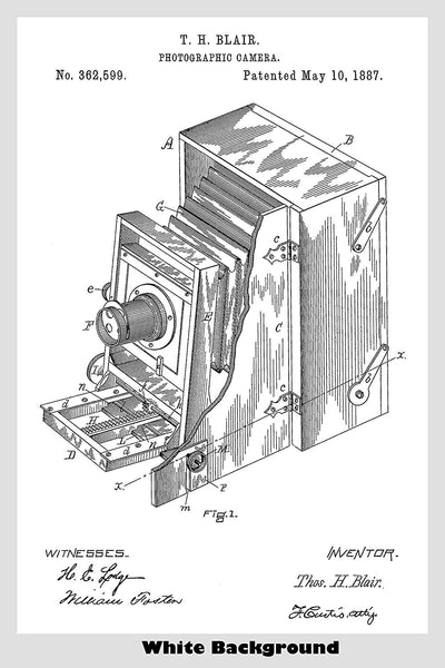 Antique Folding Box Photographic Camera Patent Print Art Poster