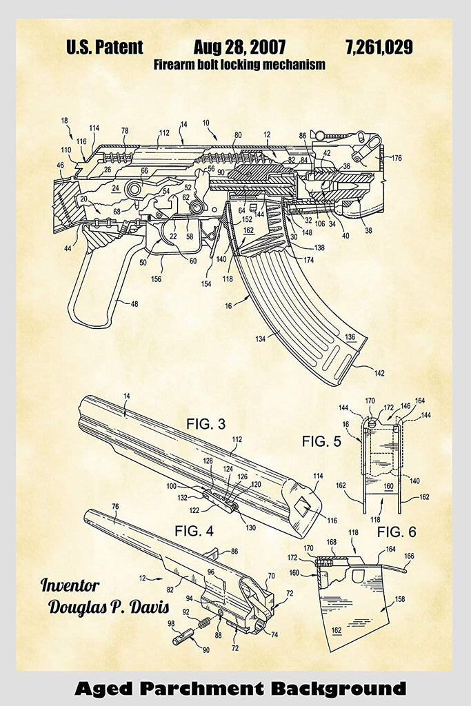 AK-47 ault Rifle Patent Print Art Poster on dc schematic, ar schematic, akm schematic,