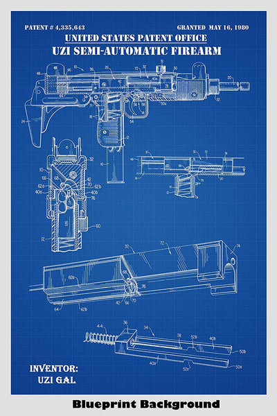 Uzi Automatic Firearm Patent Print Art Poster