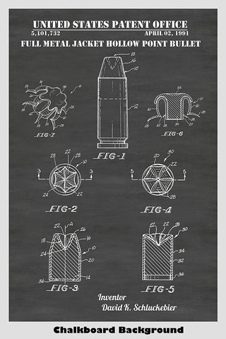 Full Metal Jacket Hollow Point Bullet Patent Print Art Poster