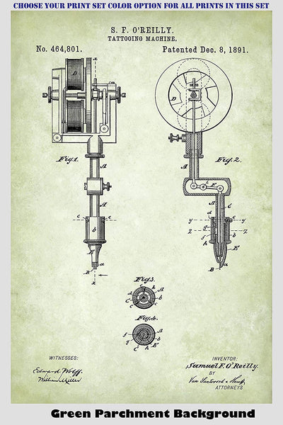 Vintage Tattoo Machines, Guns and Markers Patent Print Art Posters Wall Decor Collection