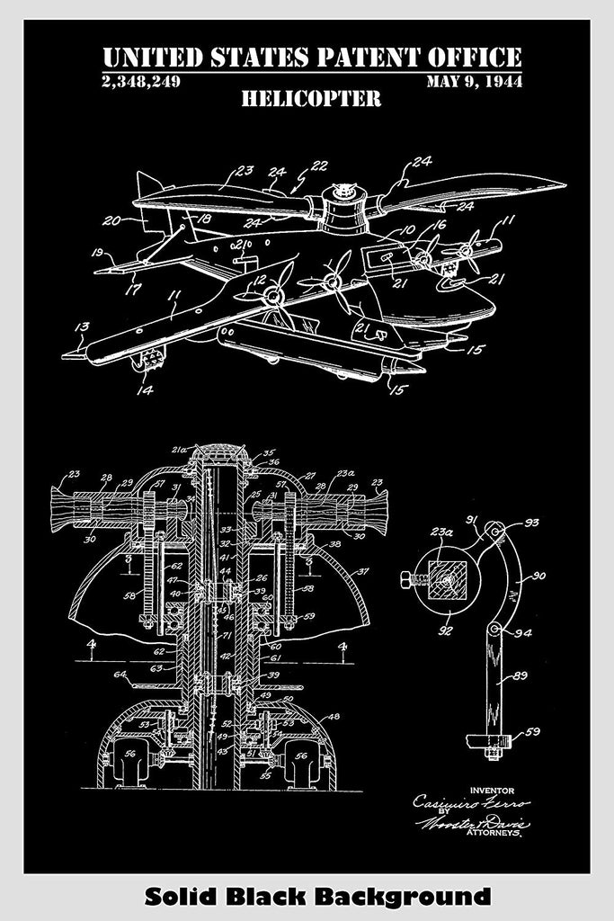 Helicopter Patent Print Art Poster – Patent Prints and More