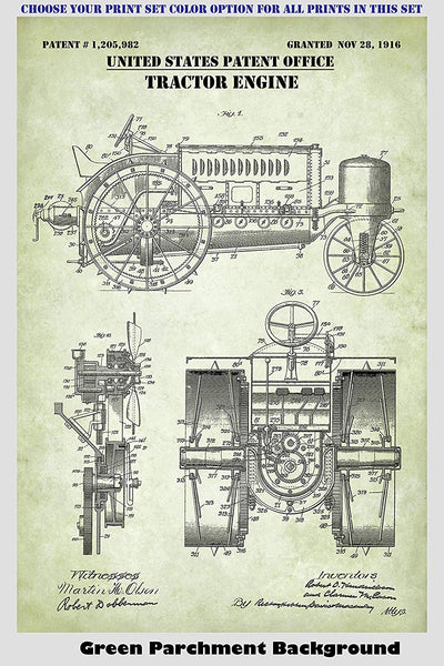 Vintage Farm Tractor Patent Print Art Posters Wall Decor Collection