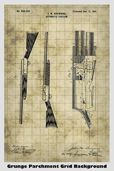 Browning Automatic Rifle Patent Print Art Poster