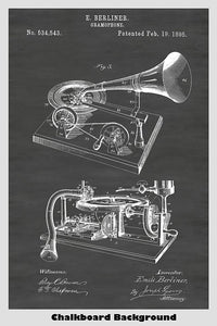 Berliner Gramophone Record Player Patent Print Art Poster