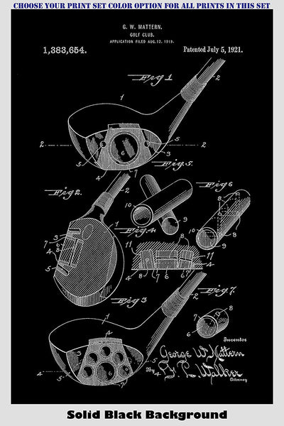 Golf Clubs, Ball, Tee and Bag Patent Print Art Posters Wall Decor Collection