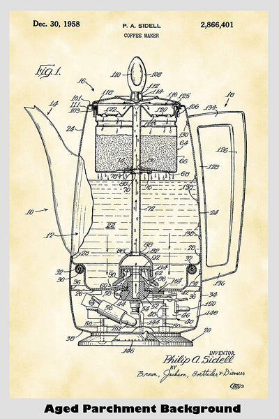 Vintage Coffee Maker Patent Print Art Poster