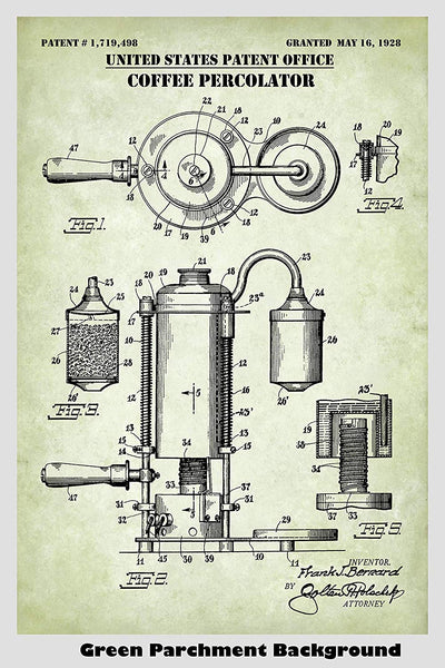 Coffee Percolator & Steam Machine Patent Print Art Poster