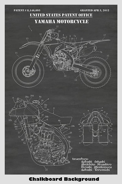 Yamaha Dirt Bike Patent Print Art Poster