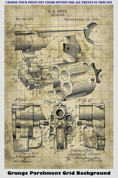 Antique 19th Century Revolver Patent Print Art Posters Wall Decor Collection