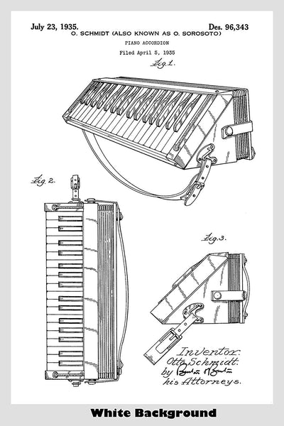 Wurlitzer Piano Accordion Patent Print Art Poster