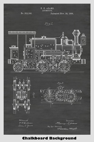 Steam Train Locomotive Patent Print Art Poster