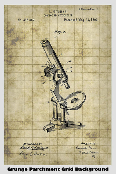 Antique Compound Microscope Patent Print Art Poster