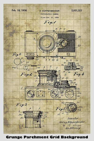 Photographic Camera Patent Print Art Poster