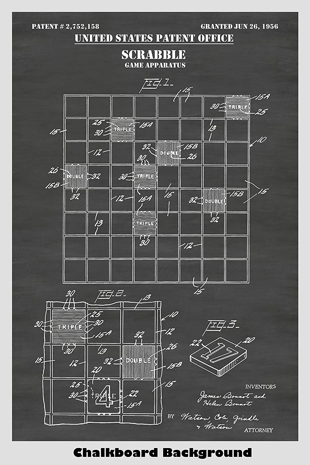 Scrabble Word Board Game Patent Print Art Poster