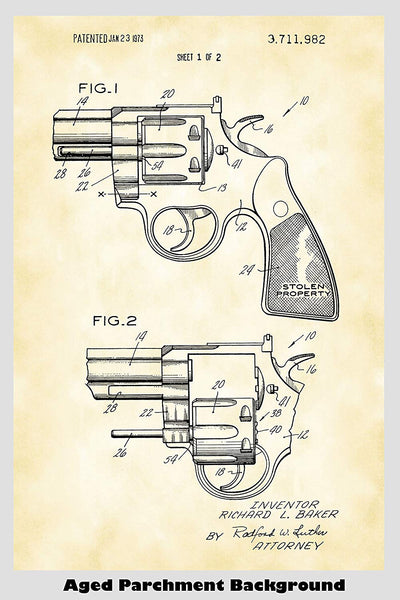 Colt Revolver With Removable Cylinder Patent Print Art Poster