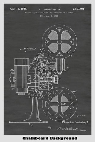Vintage Film Projector Patent Print Art Poster