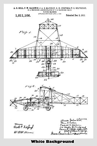 Antique Alexander Graham Bell Aircraft Patent Print Art Poster