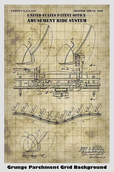 Disney Haunted Mansion Amusement Ride System Patent Print Art Poster