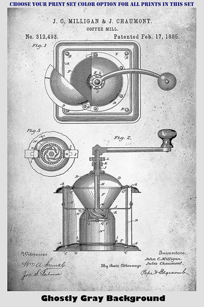 Vintage Coffee Maker & Bean Grinder Mill Patent Print Art Posters Wall Decor Collection