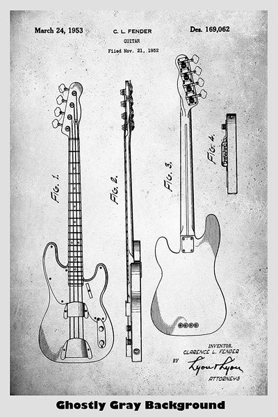 Clarence Fender Electric Guitar Patent Print Art Poster
