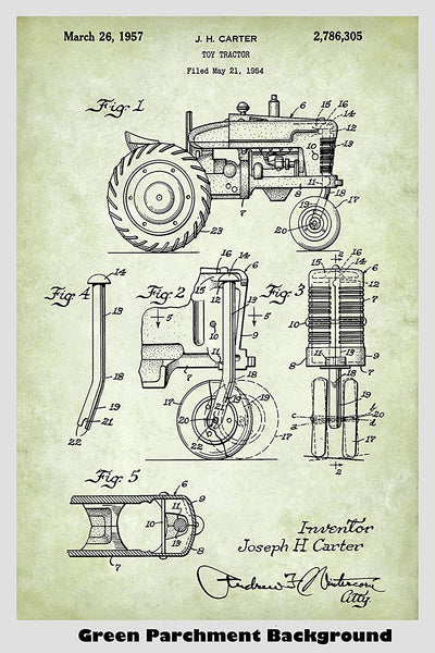 Farm Tractor Patent Print Art Poster