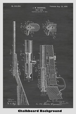 Browning Winchester Bolt Rifle Patent Print Art